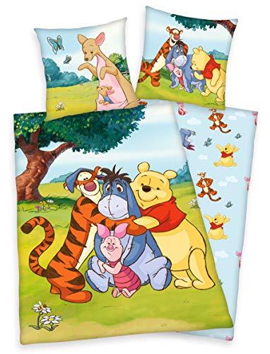 Klaus Herding GmbH Disney`s Winnie The Pooh Bettwäsche 80x80 + 135x200 cm 100% Baumwolle (bunt 135x200)