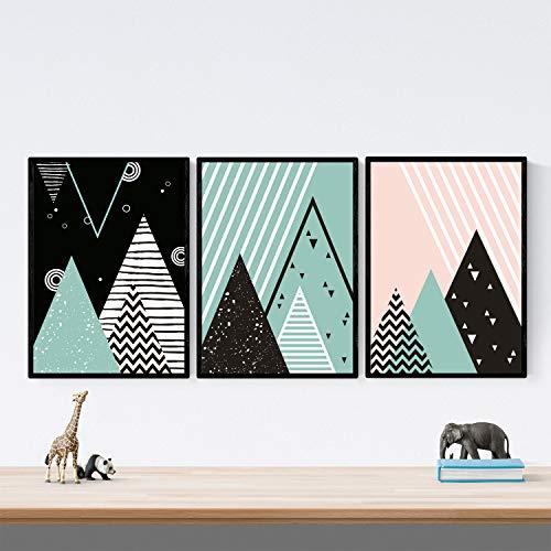 Nacnic Pack de 3 láminas para enmarcar MONTAÑAS GEOMÉTRICAS. Estillo NORDICO, escandinavo. Decoración de hogar. Posters Impresos en Papel 250 Gramos tintas Resistentes.