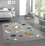 Merinos Kinderteppich Weltraum Lernteppich mit Raumschiff Sternen und Planeten in Grau Größe 120 cm Rund