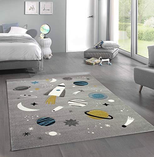 Merinos Kinderteppich Weltraum Lernteppich mit Raumschiff Sternen und Planeten in Grau Größe 120x170 cm