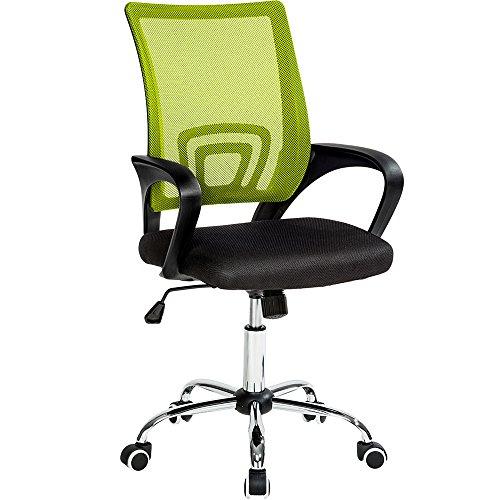 TecTake Bürostuhl Drehstuhl Schreibtischstuhl mit Lordosenstütze und Armlehnen - Diverse Farben - (Schwarz Grün | Nr. 401790)