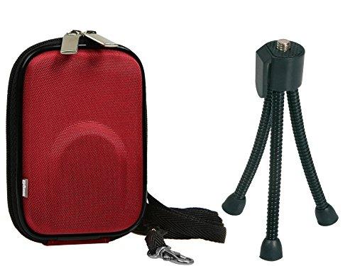 Fotocamera tas YOUR BOX rood set met flexi statief voor SONY DSC- RX100 CyberShot DSC W830 WX350 / Canon IXUS 285 275 HS 180 175 / Panasonic Lumix DMC SZ10 / NIKON COOLPIX A300 A10