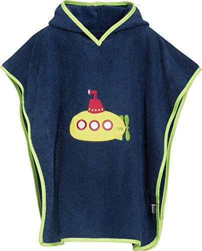 Playshoes kinder badstof capuchon poncho, praktische capuchon handdoek voor jongens, met bootstiksel