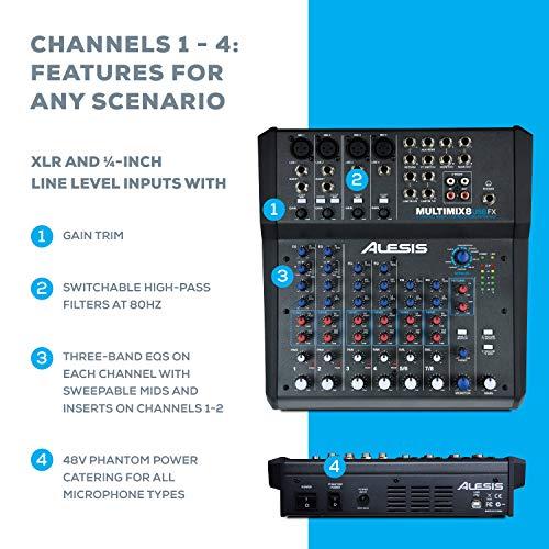 Alesis MultiMix 8 USB FX – Table de Mixage de Studio Compacte à 8 Voies avec Effets et Interface...