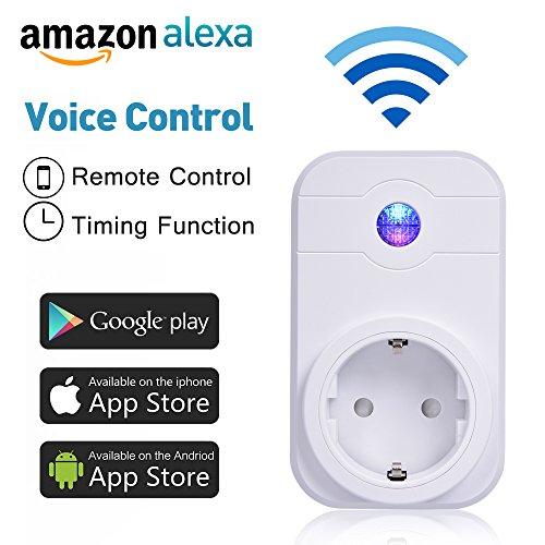 WlAN Steckdose, COLEMETER Intelligente WiFi Steckdose Smart Plug Kompatibel mit Alexa (Echo und Echo Dot) Funksteckdose Switch Timer WIFI Schalter Smartphone App Steuerung für IOS Android