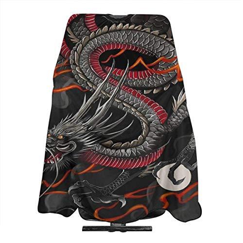 Friseurumhang mit chinesischem Drachenball-Design, Polyester, wasserdicht, 139,7 x 167,6 cm, Schwarz / Rot
