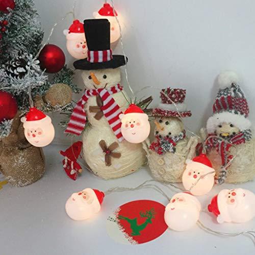 CRITY Lichterketten, Weihnachtsmann LED-Lichtleiste Lichterkette Weihnachten Dekoratives Licht 2 meter 10 Licht Batterie (Weiß)