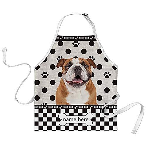 BAGEYOU Schürze mit lustigen Hundemotiven und Punkten, kariert, mit lustigem Hund und einer glücklichen englischen Bulldogge, Koch, Küche, Kochen, Arpon,...