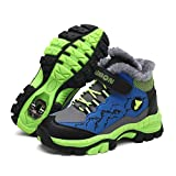 Shan-S Kids Boys Winter Snow Boots Non-Slip Hiking Waterproof Outdoor Sports Shoes Athletic Walking Tennis Running Shoes