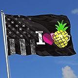 AOTADer Drapeaux d'extérieur USA Flag I Love Pineapple Flag for Sports Fan Football Basketball Baseball Hockey