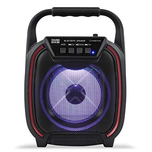 Modernista SoundBox 80 Wireless Portable BT Speaker with USB Pen Drive Slot, 3.5mm AUX Input, Micro SD Card Slot, Built in FM, Carry Handle, LED Lights