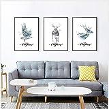 WEDSA Lienzo Pintura Mural Animales Abstractos Cartel Bosque Paisaje Arte de la Pared Lienzo Pintura Deer Eagle Imprimir Imagen de la Pared para la Sala de Estar 40x50cmx3 Sin Marco