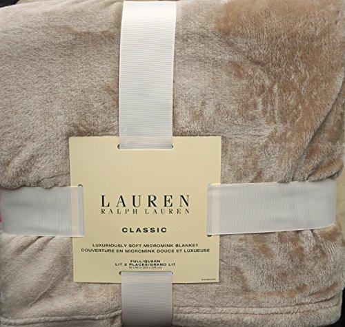 Lauren Ralph Lauren Full / Queen Size Classic Micromink Plush Bed Blanket -- Tan