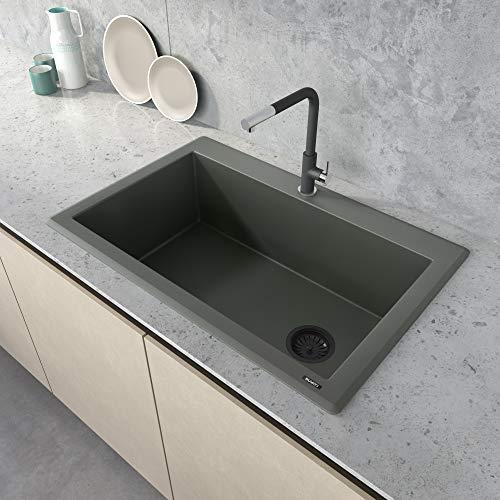Ruvati 33 x 22 inch Granite Composite Drop-in Topmount Single Bowl Kitchen Sink - Juniper Green - RVG1033RN