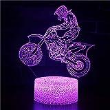 3D USB Luces nocturnas,Lámpara de mesa táctil Luces con control remoto para la decoración del partido para niños niñas niños Presentes de cumpleaños - Motocicleta todoterreno