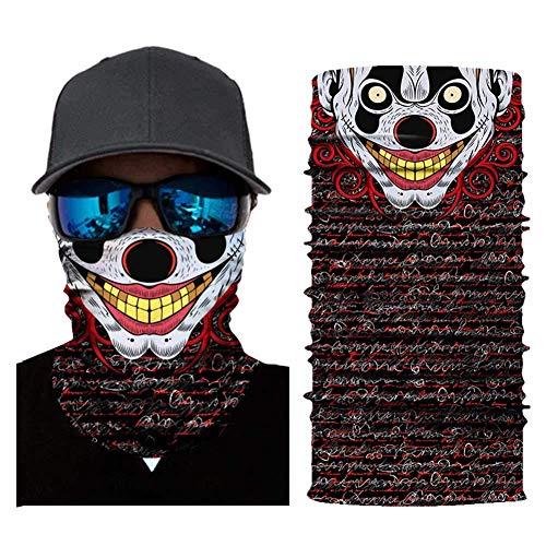 aixingwuzi 3D Joker Schedel Motorfiets Gezicht Masker Motorfiets Hoofddeksels Sjaal Fietsen Hals Hoofdband Shield Masker Moto Helm Bandana