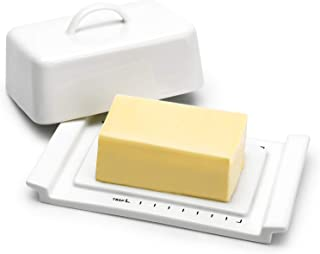 Sweese 318.101 Butter Dish with Lid, Butter Keeper with Handle - TBSP Markings, for Kerrygold, East and West Coast Butter, White