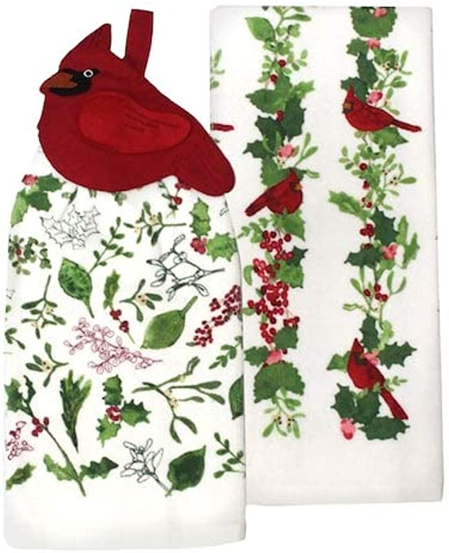 St Nicholas Square Cardinal Holly And Ivy Tie Top Kitchen Towel Set 2 Pack