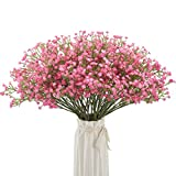 BOMAROLAN Artificial Baby Breath Flowers Fake Gypsophila Bouquets 12 Pcs Fake Real Touch Flowers for Wedding Decor DIY Home Party(Pink)
