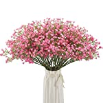 Silk Flower Arrangements BOMAROLAN Artificial Baby Breath Flowers Fake Gypsophila Bouquets 12 Pcs Fake Real Touch Flowers for Wedding Decor DIY Home Party(Pink)