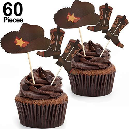 Blulu 60 Stücke Cowboy Hüte und Stiefel Cupcake Toppers Western Cowboy Cupcake Toppers für...