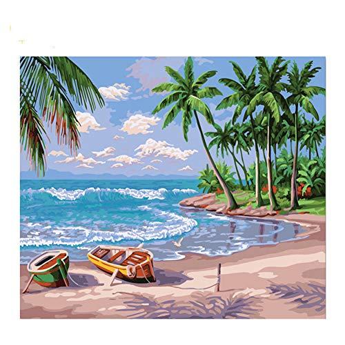 GKJRKGVF Kokosnoot Boom Diy Schilderen Door Getallen Abstract Beach Boot Olie Schilderen Op Acryl Tekenen Muur Kunst