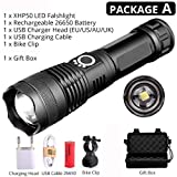 ED Bicycle Flashlight Function USB Rechargeable Bicycle Light Flashlight for Outdoor,Package A