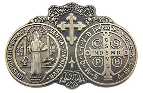 Sacred Traditions Saint St Benedict of Nursia Medal 2 3/4' Zinc Alloy Visor Clip