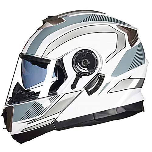 Casco de Motocicleta,Material ABS Transpirable Confortable Certificación ECE Adecuado para Hombres Mujeres Casco Protector de Motocicleta I,XL60~62CM