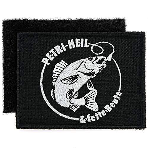 Klett Aufnäher gestickt Angler Petri Heil mit Patch Rückseite Gegenstück