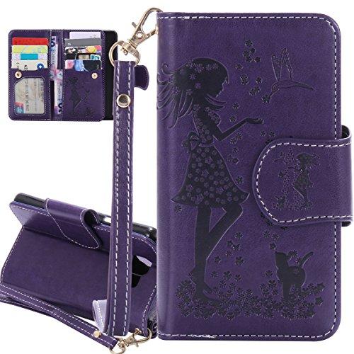 ISAKEN Compatibile con Samsung Galaxy A3 2016 Cover in PU Pelle Portafoglio Tinta Unita Custodia Wallet Flip Case Nove Carte Slots Cover con Supporto di Stand/Strap/Carte Slot, Ragazza: Violet