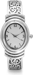 Geneva Womens Oxidized Scroll Design Hinged Fashion Cuff Watch White Dial W9132