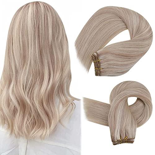 Easyouth Tissage Bresilien Lot de Trame Bundle Balayage Couleur Blonde Cendrée Rehaussée de Blonde Jaune Hair Bundles Remy Weave Hair 1Pcs 18pouces 100g
