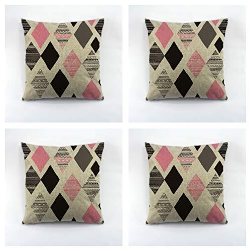 Geometría decorativa Throw almohada caso lino/poliéster cubierta de cojín decoración para el hogar sofá 4pc 45x45cm