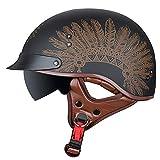 Casco de Moto Vintage Half Shell,Casco Medio Abierto con Visera,Certificación ECE Cascos Vintage Style Helmet Bici Viaje Crucero Scooter Bicicleta para Adultos Hombres Mujeres E,XXL=62~63cm