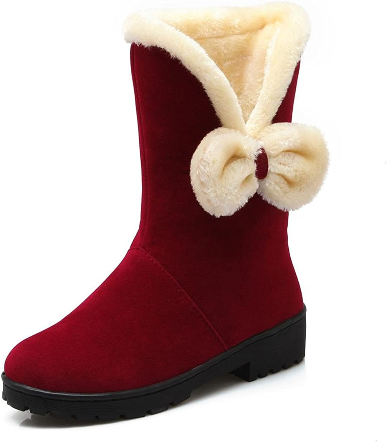 L&L Ladies Large Size Female shoes Bow tie Scrub Snow Boots Sleeve Flat Female Boots