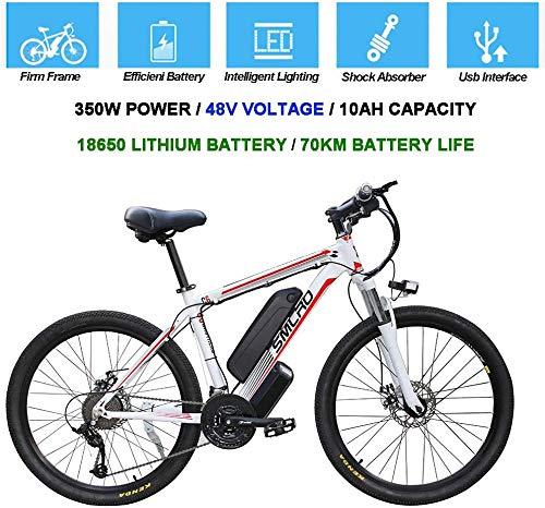 Biciclette elettriche per adulti, Bicicletta rimovibile 48V / Ebike in lega di alluminio 360W con mountain bike agli ioni di litio da 10 Ah/Smart Mountain Bike (White Red,26inx17in)