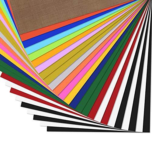 Zwanzer - 25 fogli di Flex termoadesivi per tessuti in 16 colori, 25,4 x 30,5 cm, vinile termoadesivo per cricut e Silhouette, teflon, per macchina di Pressa a caldo o ferro da stiro su tessuto