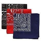 Large Bandana Handkerchiefs - Head Bandannas for Men & Women - Colorful Paisley Cowboy Bandana Pack - Black, Red, Blue 3-Pack