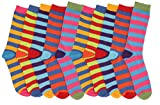 6 pairs Ladies Funky Retro 80's Vinatge Multi Stripe Pattern Dress Design Socks Cotton Blend Colourful Socks Shoe Size 4-6 QZ FASHION