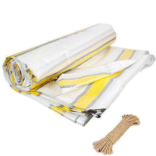 ZEMIN Bâche Protection Couverture Transparente Imperméable Crème Solaire Tente Drap Toit Tissu Stable Fermer Polyester, Bande, 220G / M², 6 Tailles Disponibles (Color : Stripe, Size : 10X12M)