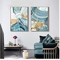 XIANRENGE ポスター モダンな抽象的なキャンバス絵画ポスターとリビングルームのプリント青い寝室の家の装飾の写真大きな壁のアートゴールデンフレームなし-50x70cmx2フレームなし