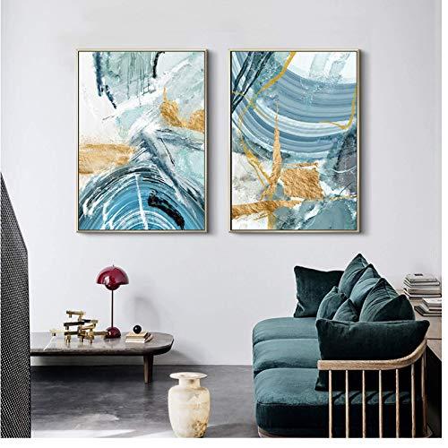 FRTTCYO Poster Moderne abstrakte Leinwand Malerei Poster und Druck für Wohnzimmer Blue Bedroom Home Decor Bild Große Wandkunst Golden Unframed -50x70cmx2 No Frame