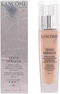 Lancome Teint Miracle Bare Skin Foundation SPF 15 Natural Light Creator, No. 01 Beige Albatre, 1 Ounce-3605533273562