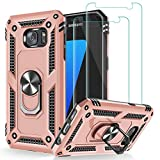 Galaxy S7 Case, Galaxy S7 Phone Case with Tempered Glass Screen Protector [2 Pack], Jshru Military Grade Protective Phone Case with Ring Car Mount Kickstand Cover for Samsung Galaxy S7 Rose Gold