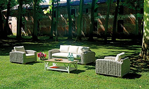 Maruccia Group Living Room for Bars Gardens and Hotels in Natural Fiber with Cushions and Table for Outdoor 5 Seater Sofa with Cushions
