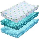 DaMohony Fundas para cambiador de pañales, 3 unidades de fundas elásticas para pañales para bebés, niños y niñas (sin correa)