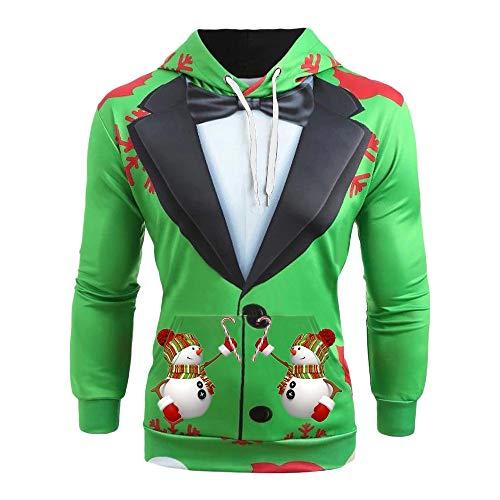 R-Cors NoëL Sweater Homme Automne et Hiver 3D Imprimé Christmas Manches Longues Chemisier Mâle Funny De noël Tops Grande Taille Tee Shirt Xmas Les Loisirs Sweatshirt(B Vert,4XL)