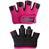 Contraband Pink Label 5537 Womens Micro Weight Lifting Gloves w/Grip-Lock Silicone Padding (Pair) - Minimalist Half Gloves - Apple Watch Friendly (Pink, X-Small)