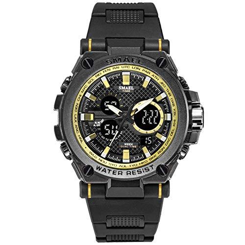 SMAELBand Montre de Sport pour Hommes LED 50M étanche Montres Bracelets numériques Multifonctions à Quartz pour Homme Chronomètre Fashion S Shock,Golden